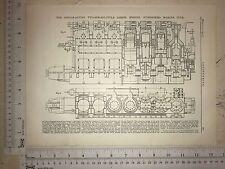 Single Action 2 Stroke Cycle Engine, Nurenburg: 1912 Engineering Magazine Print