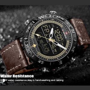 NAVIFORCE Men Military Sport LED Digital Watch Waterproof Quartz Cuff WristWatch