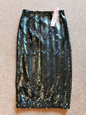 Lipsy NEW Sequin Teal Green Fitted Pencil Skirt RRP £50,  Size 4 EU 30