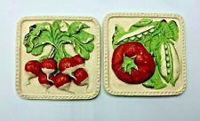 "Vintage Chalkware Wall Plaque Pair Kitchen Decor Vegetables Handpainted~5"" x 5"""