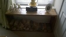 A wide handcrafted Lehon log store/side unit/TV stand