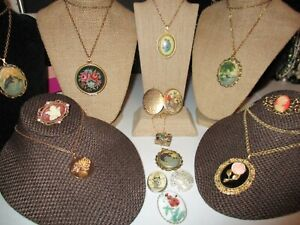 CAMEO AND LOCKET VINTAGE JEWELRY LOT*VATICAN LIBRARY COLLECTION*AVON*