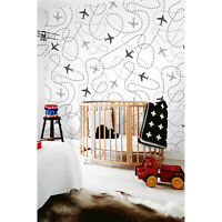 Non-Woven wallpaper traditional Kids Nursery Baby Airplanes pattern White Mural