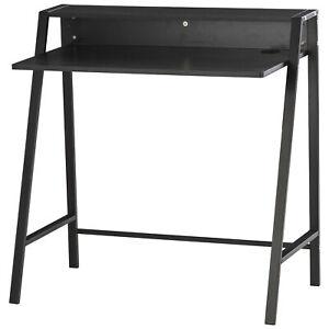 Workstation Computer Desk with Elevated Storage Shelf - Black