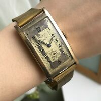 LANCO Prima Men's Watch Swiss Vintage Rectangle Golden Rare Analog Collectible
