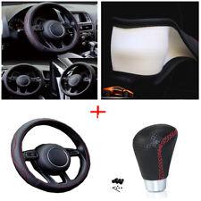 38cm Sport PU Car Steering Wheel Cover+Manual M12/M10/M8 Gear Shift Knob Shifter