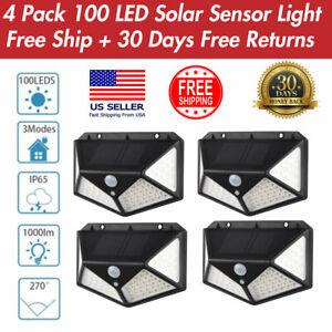 1-4PK Waterproof 100 LED PIR Motion Sensor Solar Power Outdoor Garden Light