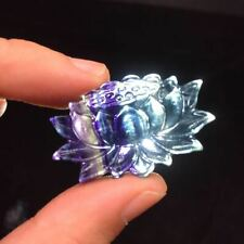 Natural Rainbow Fluorite Quartz Crystal Carved Lotus Flower Healing Pendant 1PC