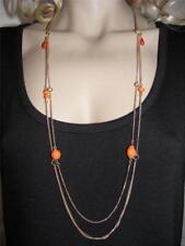 $16 Rachel Multi-Layer Chain Orange Bead Beaded Station Necklace Goldtone