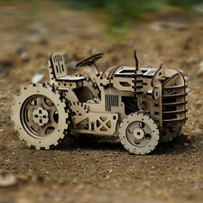 Robotime Lk401 3d Wood Tractor with Wind Up Spring