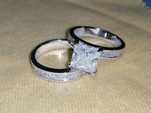 3.50 Ct Princess Cut Wedding Matching Band Bridal Ring Set 14K White Gold Over