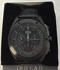 Pulsar Men PT3521 On The Go Black Dial Chronograph Black Leather Band Date Watch