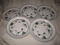 """5 Noritake Keltcraft IVY LANE 7 5/8"""" Salad Plates 9180 Made in Ireland"""