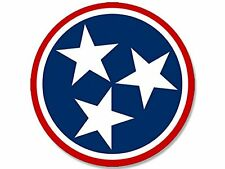 ROUND Tennessee 3 Stars Logo Sticker (decal flag tn)