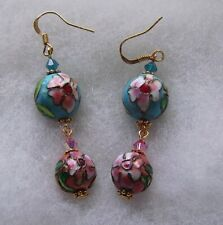 BLUE AND PINK CLOISONNE EARRINGS