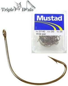 1 Box of Mustad 37140 Wide Gap Bronzed Fishing Hooks