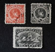 Canada / Newfoundland Scott 56 58 59, 1887-96, Used, SCV: $82.25