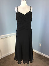 Anne Klein Black Silk Cocktail Formal dress Embellished Beaded Excellent 12