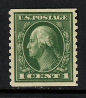 SCOTT 443 1914 1 CENT WASHINGTON REGULAR ISSUE COIL SINGLE MNH OG VF CAT $65!