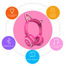 Mindkoo Headphones Wireless Bluetooth Cat Ear LED Lights Mic Headset For Sumsung