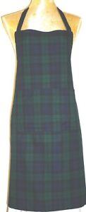 APRON, SCOTTISH TARTAN GREEN AND NAVY. FRONT POCKET.'Made in Scotland' GIFT IDEA