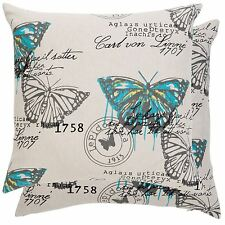 "FRENCH BUTTERFLIES STAMPS TEAL YELLOW GREY BEIGE 18"" - 45CM CUSHION COVER"