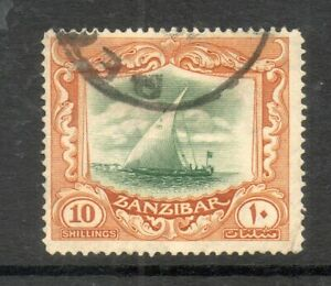 ZANZIBAR 1936 SG322 10/- DHOW GREEN & BROWN FINE USED