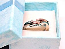 Double Dolphin Silver Plated Adjustable 925 Ring