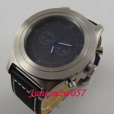 Parnis 52mm black dial luminous hands Full chronograph quartz mens wristwatch