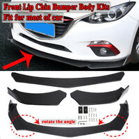 Carbon Fiber Look Universal Car Front Bumper Lip Chin Spoiler Splitters Body Kit