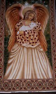 New - 100% Cotton Fabric Panel  Christmas Angel - L 112 cm x W 61 cm