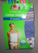FRUIT OF THE LOOM~S 5~3 Pr Solid/Floral/DottedCotton Stretch Hipster Panties