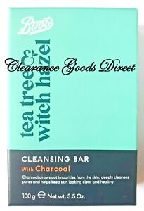 Boots Tea Tree & Witch Hazel Cleansing Bar with Charcoal Cleanses Pores 100g