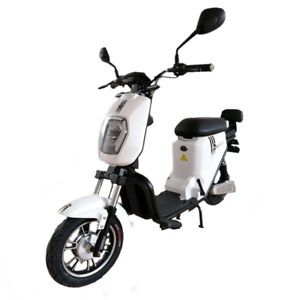 Electric Moped E-Bike Motorcycle EROUTE 500W 16Ah Li-ion with pedals, white