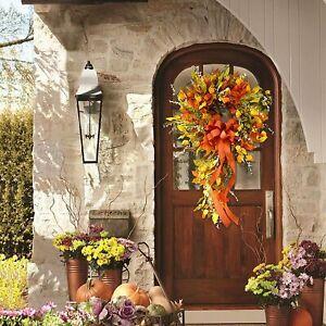 30*60cm Fall Wreath Floral Fall Door Wreath Artificial Maple Leaf Wreath Orange