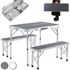Mesa Camping de jardín de aluminio 2 bancos plegables blanco/gris con asas