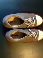 Gray Men Fossil Canvas Shoes Size 9.5