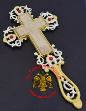 Orthodox Blessing Cross with Mount Athos Wooden Carved Cross with Stones