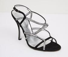 DOLCE & GABBANA Womens Black Classic Strappy Crystal Sandal High Heel 7.5-37.5