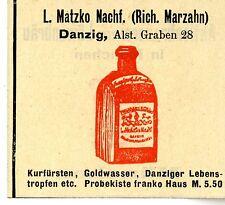 L.Matzko Nachf. Danzig GOLDWASSER DANZIGER LEBENSTROPFEN Trademark 1908