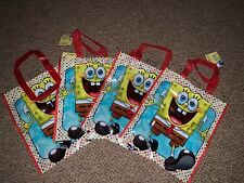 4 NEW SPONGEBOB SQUAREPANTS PLASTIC PARTY TOTE BAGS LARGE KIDS PARTY TREAT BAG