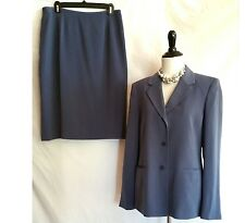 KASPER Size 10 Skirt Suit Blazer Jacket Set Outfit Blue NWT