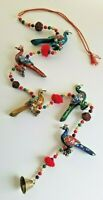 """Peacock Wall, Door, Window Hanging, Wind Chime Accent Approx. 28"""" Beaded Length"""
