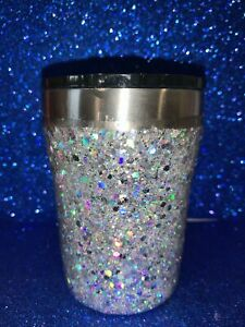 Double insulated Stainless Steel Glitter tumbler Silver Bling 12oz W/lid