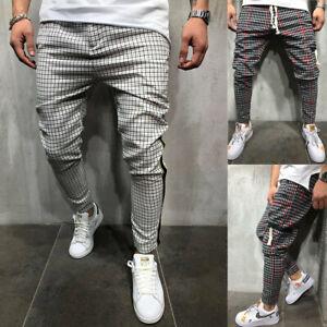 Man Casual Trousers Jogger Fashion Red Stripes Pattern Workout Pants Sweatpants