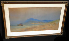"""1850s Irish WC Painting """"Fisherman at Arklow Co Wicklow"""" by John Faulkner (Chab)"""