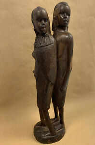 Vintage African Hand Carved Wooden Tribal Statue Figures Ornament Sculpture Art