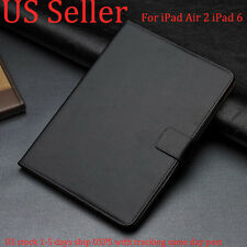 Genuine Luxury Real Leather Card Flip Smart Case Cover Fr Apple iPad Air 2 iPad6
