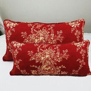 Red Toile Decorative Cushion Cover Cordin Set Lumbar Throw Pillow Case Rectangle