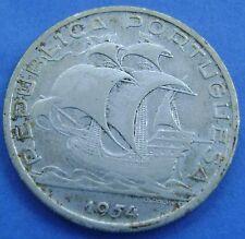 Portugal - 10 escudos 1954 Silver -  KM# 586